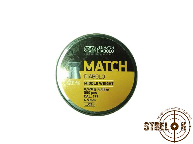 Пули JSB match Diabolo Middle Weight 0.52гр, 500шт
